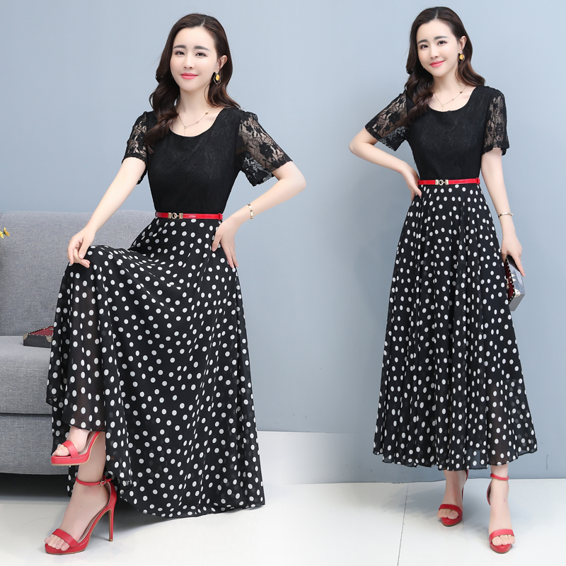 Round Neck Lace short sleeve slim patchwork polka dot dress with belt Dress Black / white ks06861