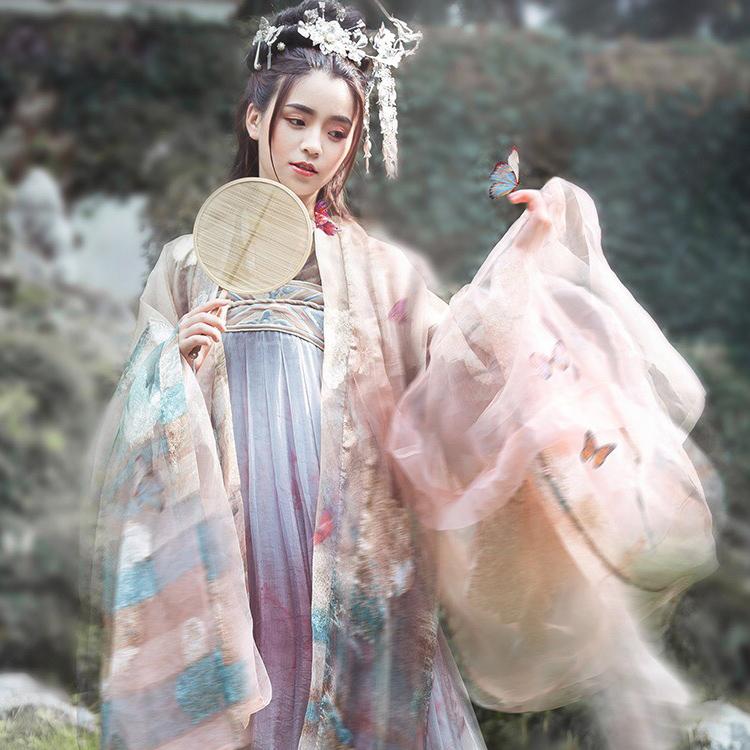 长生殿-传统对襟唐制齐胸襦裙汉服女 织金大袖衫 春秋款套装