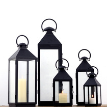 Soft time European simple retro iron glass windproof candle Terrace garden windproof lamp romantic Wedding Decoration