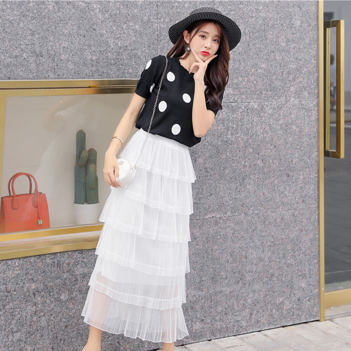 Real Shot 2019 Summer New Style Polka Dot Top + Cake Mesh Pleated Long Skirt College Wind