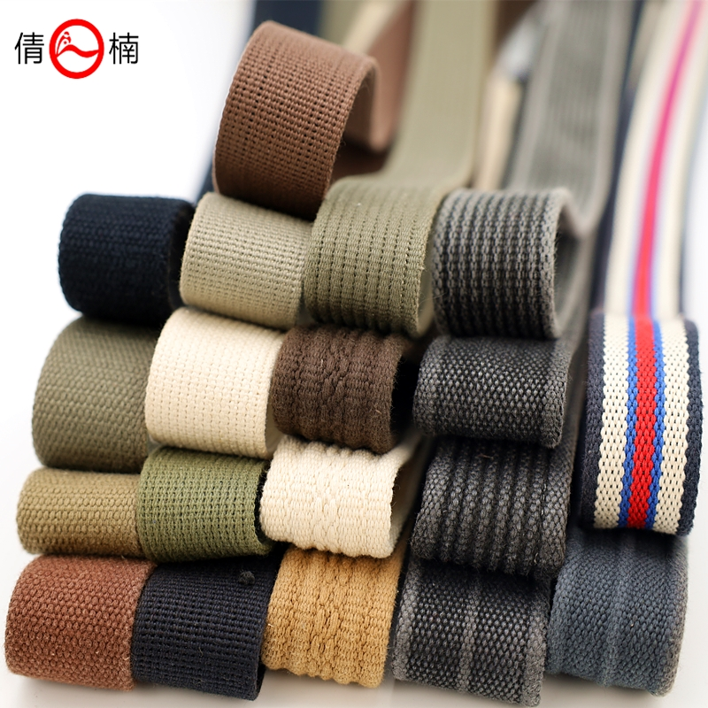 25 / 38 / 45mm wide washed thickened cotton polyester cotton belt DIY canvas belt backpack strap strap accessories