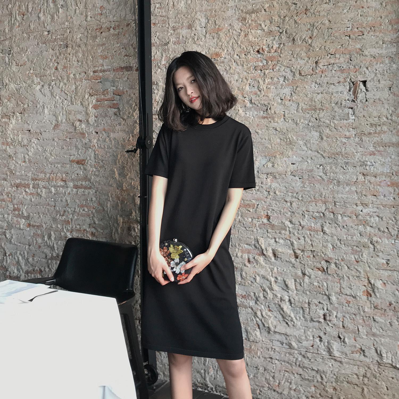 MUNA дерево иеорглиф ля женских имён весна 2018 новая девушка длина короткий рукав T футболки chic круглый вырез вязание платье долго T футболки юбка