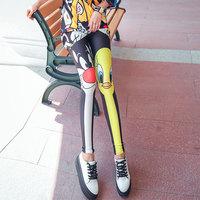 个性卡通弹力打底裤女薄款外穿高腰显瘦紧身小脚裤原宿风夏季新潮