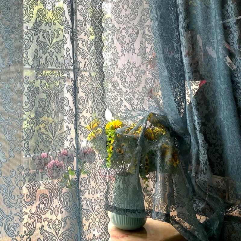 欧式田园蕾丝复古绿色成品韩式窗纱