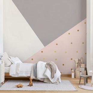 定制壁画几何卡通儿童房墙纸公主房壁纸儿童墙布幼儿园壁布女孩