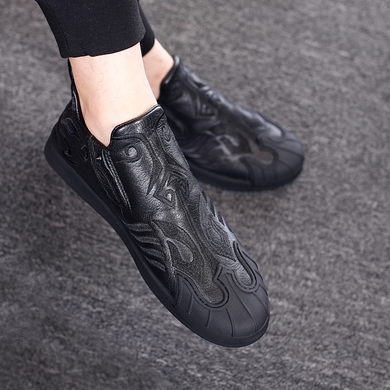 Европейские станции обувь мужской вышитый модный для досуга высокий обувь весна сезон натуральная кожа обувь рукав простой мужская обувь
