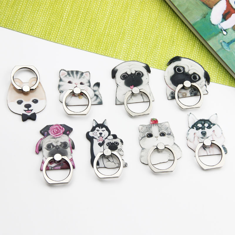 Acrylic ring buckle bracket cartoon cat dog gift bracket mobile phone case DIY decoration accessories consumables