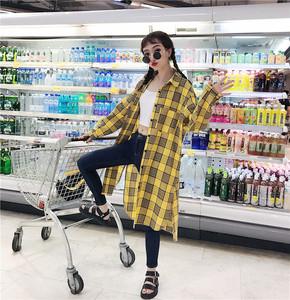 实拍实价格子衬衫女长袖外套宽松韩版2018新款复古中长款bf风