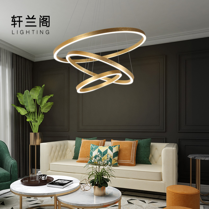 Net red light minimalist dining room chandelier living room lamp 2020 new multi-storey circular compound building large chandelier gold