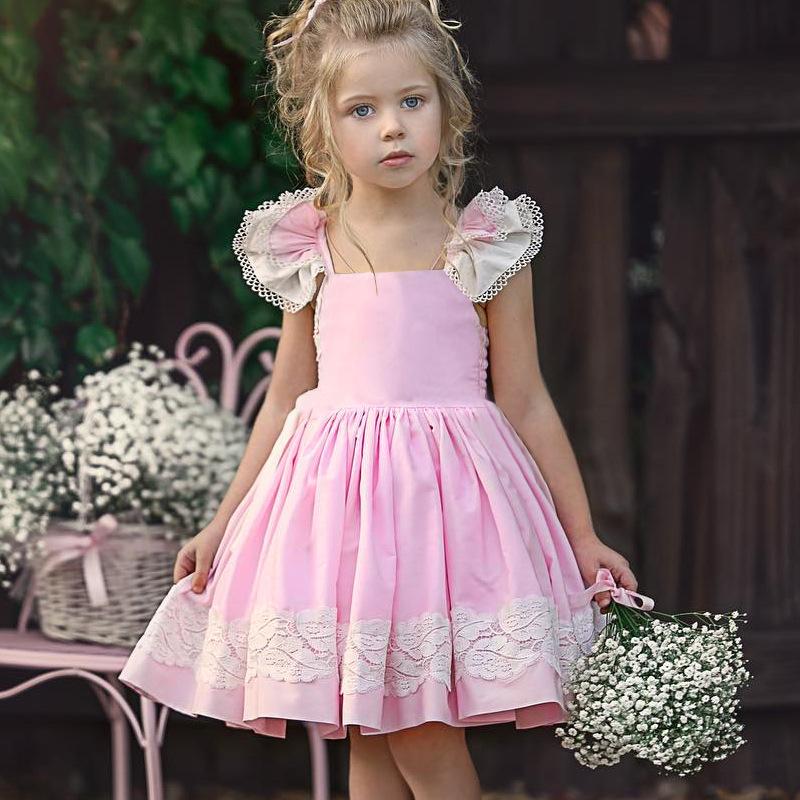 INS爆款童装 夏季女童飞袖露背绑带连衣裙蕾丝花边公主裙欧美童裙