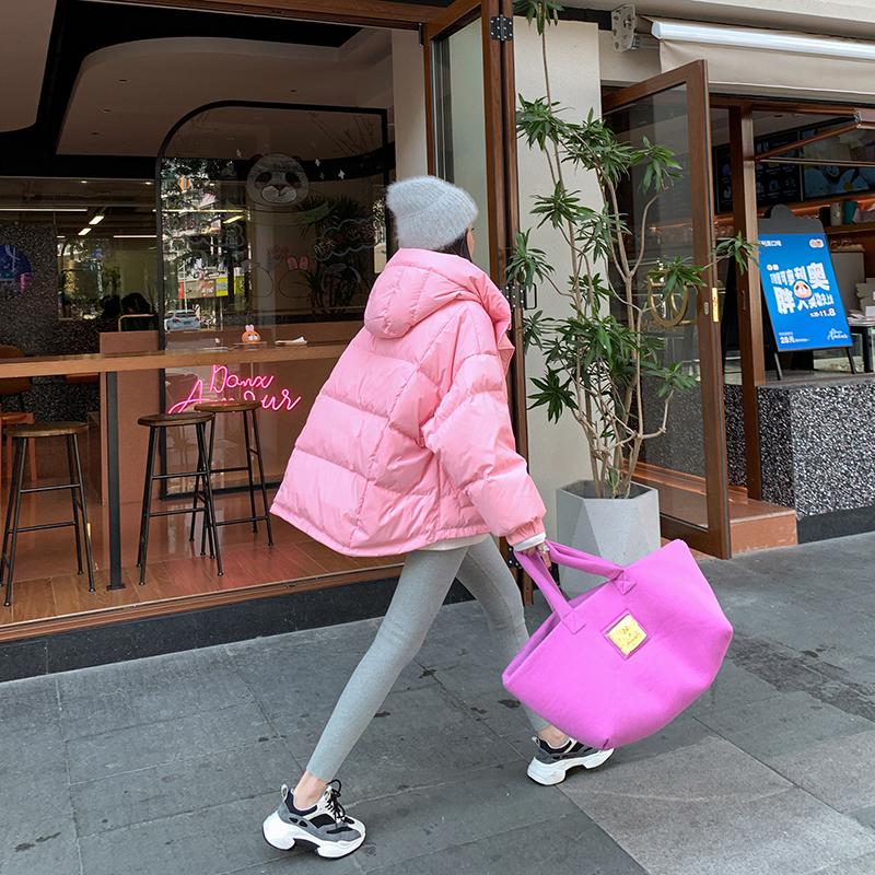【小火炉】宽松加厚斗篷羽绒服女2020新款韩版连帽小个子外套短款
