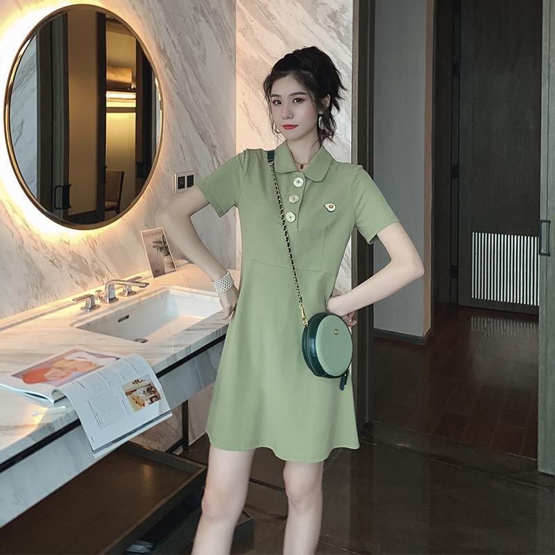 牛油果图案绿色polo领连衣裙中长款夏季2019新款宽松短袖a字裙子