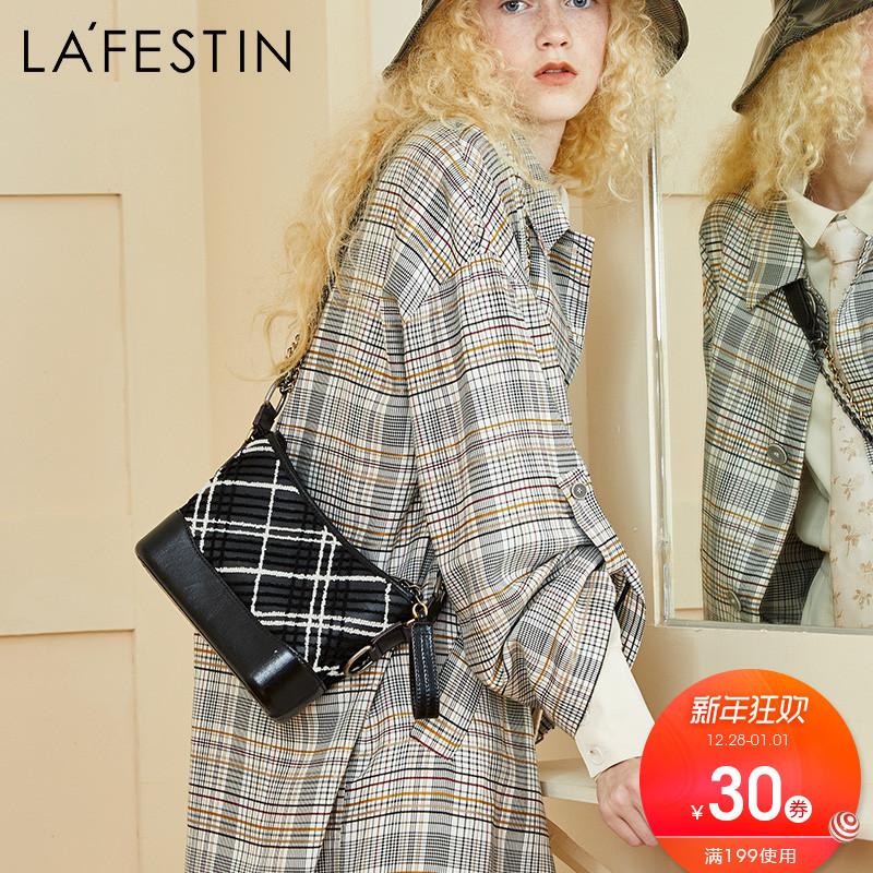 拉菲斯汀女包2018新款小香风包包流浪包女格纹链条包单肩包斜挎包