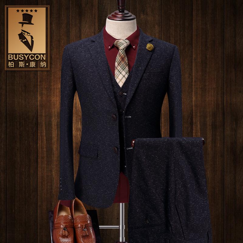 冬季西服套装男 厚款修身韩版英伦风 定制西装男婚礼三件套 正装