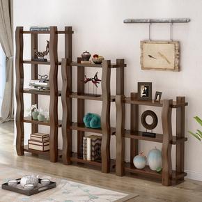 茗馨全实木书架置物架落地简易中式博古架简约现代多层展示柜