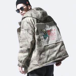 【特价】二十八间冬季男装嘻哈潮牌加厚迷彩棉衣潮流宽松外套棉服