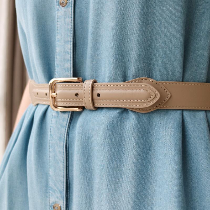 新品时尚头层牛皮百搭造型优雅配裙裤子腰带腰封棕色黑色皮带女款