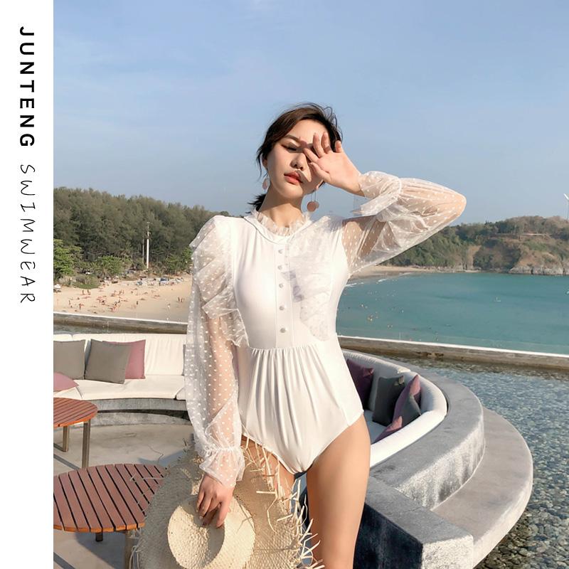 手慢无夏季新款仙女范白色小胸蕾丝长袖防晒泳衣连体性感ins风显瘦沙滩