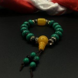 藏式佛珠手链原矿优化绿松石手串 男女手串