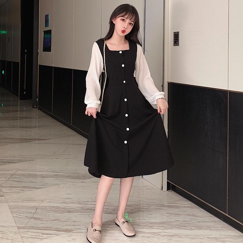 法式复古连衣裙2019秋冬新款胖mm显瘦气质很仙的黑色中长款裙子