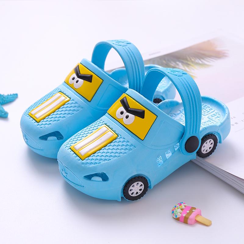 儿童拖鞋夏季新款男童卡通小汽车宝宝凉拖小孩室内防滑女童洞洞鞋