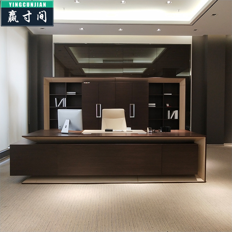 Xiamen office furniture big class table high end atmosphere boss desk chairman president table Nordic luxury solid wood