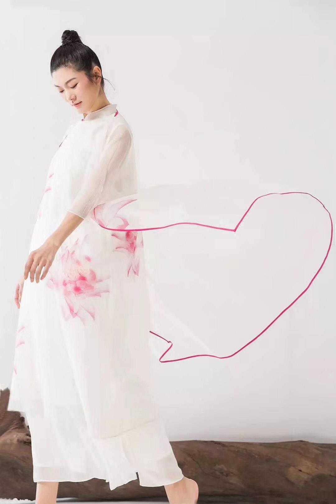 TYJ019复古旗袍改良中长款双层真丝手绘连衣裙女夏
