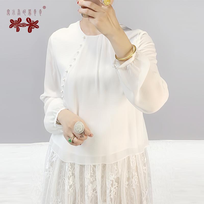 TYJ026春秋2019新款真丝双绉薄款透气纯色真丝衬衣衬衫上衣女