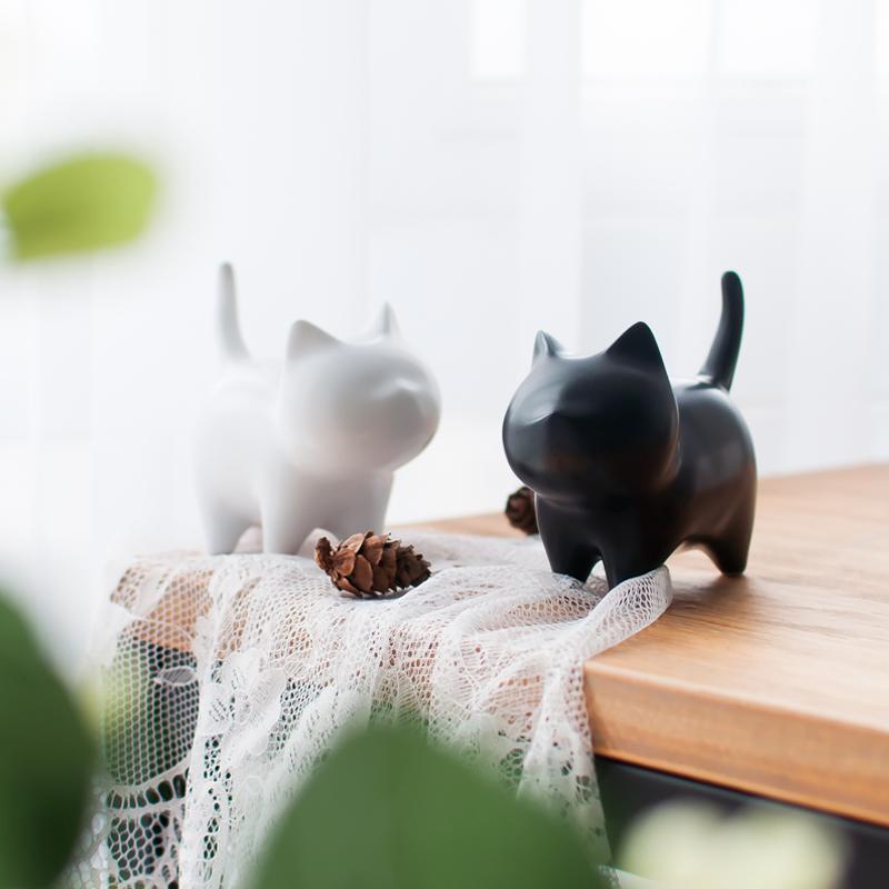 限6000张券陶瓷黑白小猫咪桌面摆件北欧创意