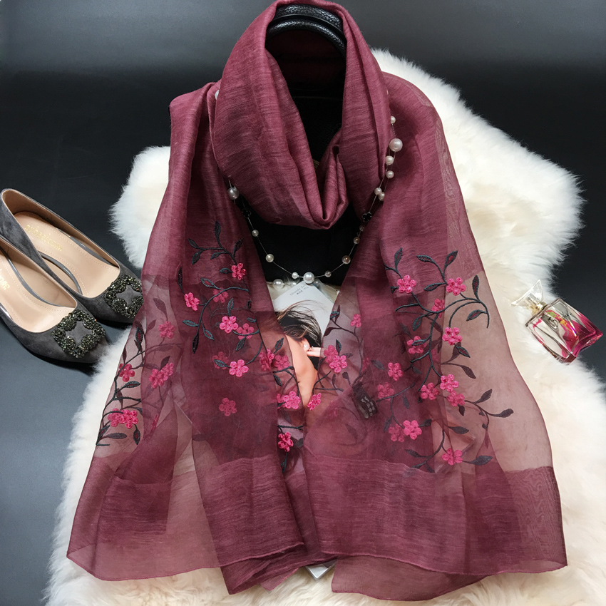 Korean pure color embroidery mulberry silk scarf dual purpose decorative shawl silk wool thin decorative scarf for women