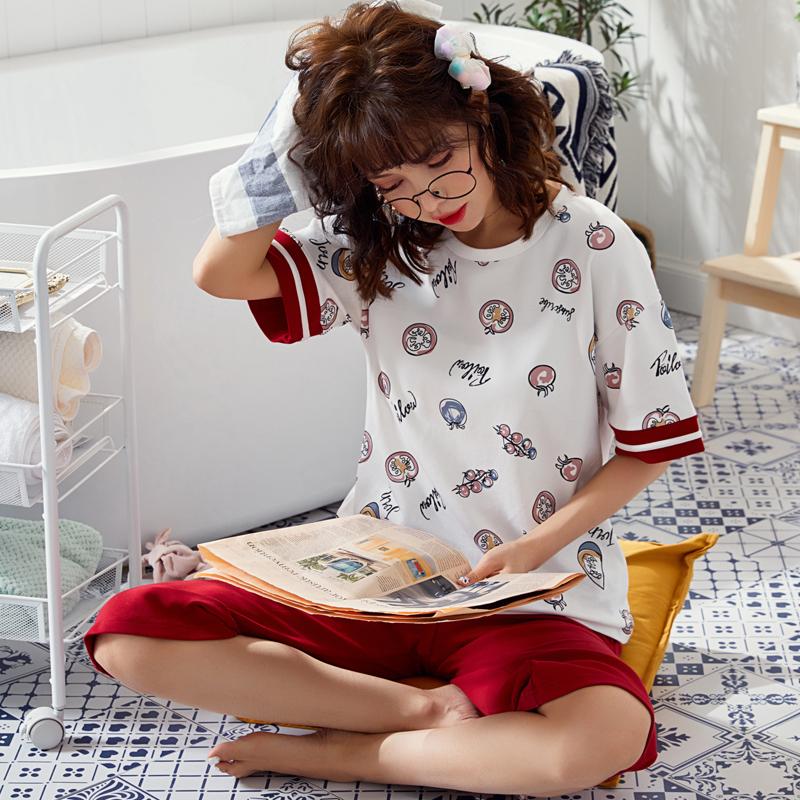 夏季棉质韩版短袖七分裤女士可外穿套装家居服纯棉圆领半袖睡衣女