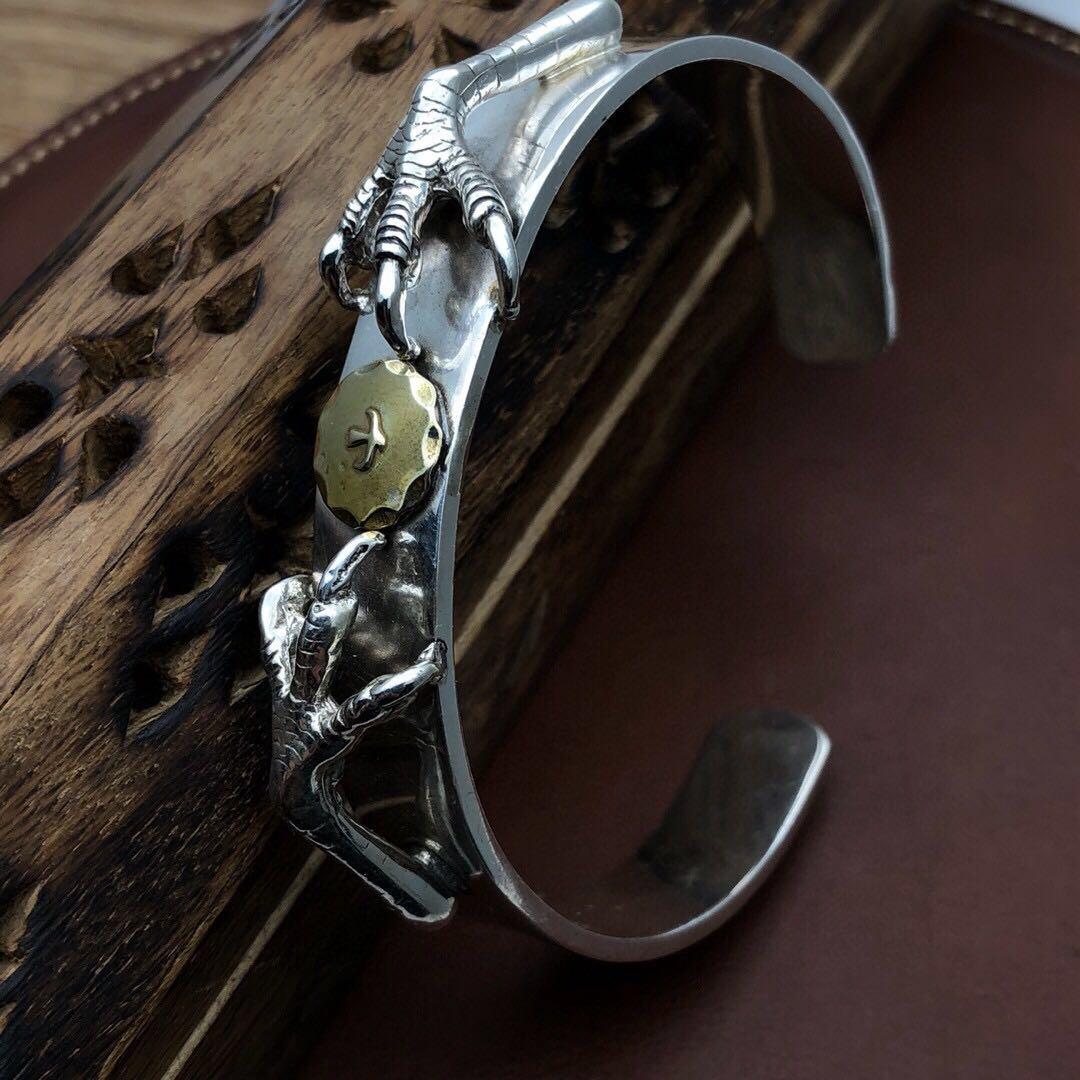 纯银s925gor高桥双鹰爪铜标手镯男士复古简约手镯印第安风格简约