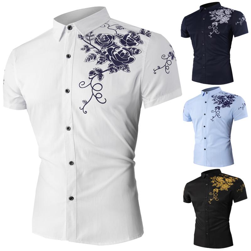 夏季外贸衬衣男装衣服时尚玫瑰印花男士短袖衬衫1608-1-DC115-P35