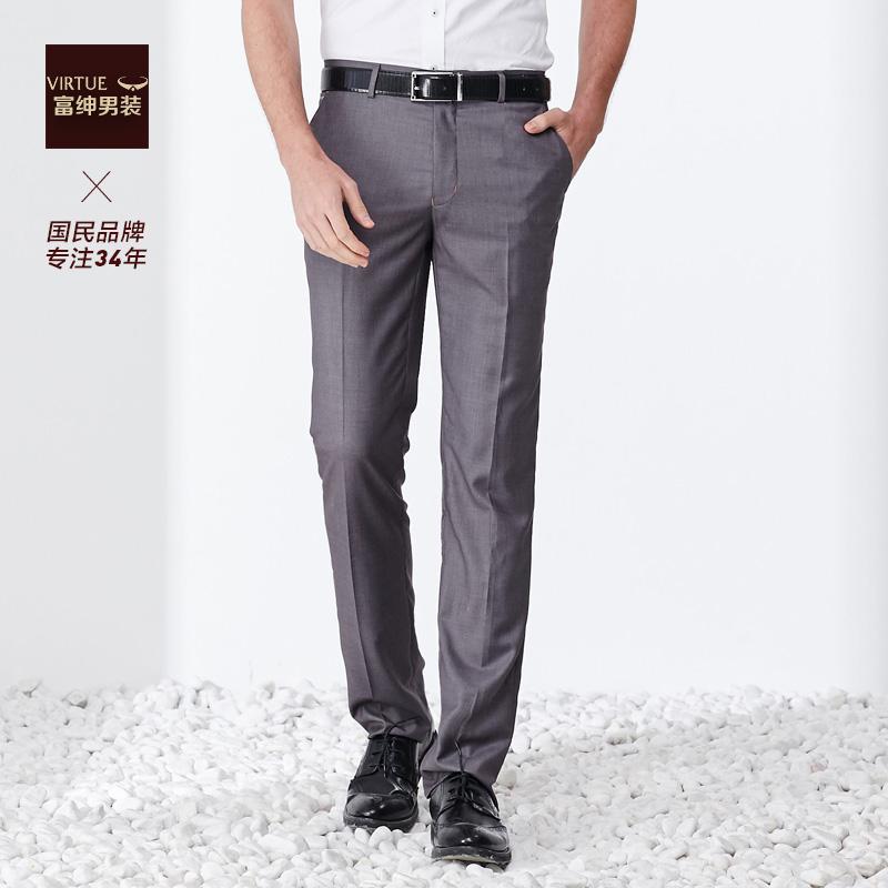 富绅夏季西裤男商务正装直筒中年修身垂顺透气上班灰色西装长裤子