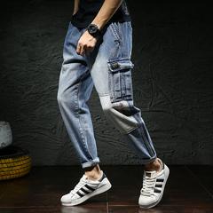 2018新款秋冬大码哈伦裤男宽松日系复古系带拼接牛仔裤男休闲男裤