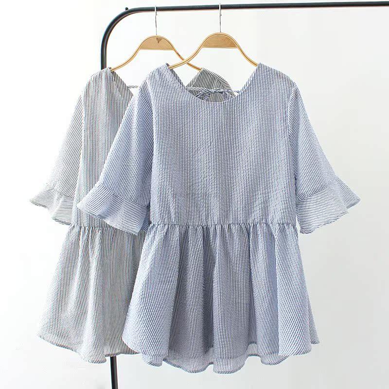 胖MM加肥加大码夏装新款泡泡棉条纹短袖娃娃衫宽松显瘦遮肚半袖女