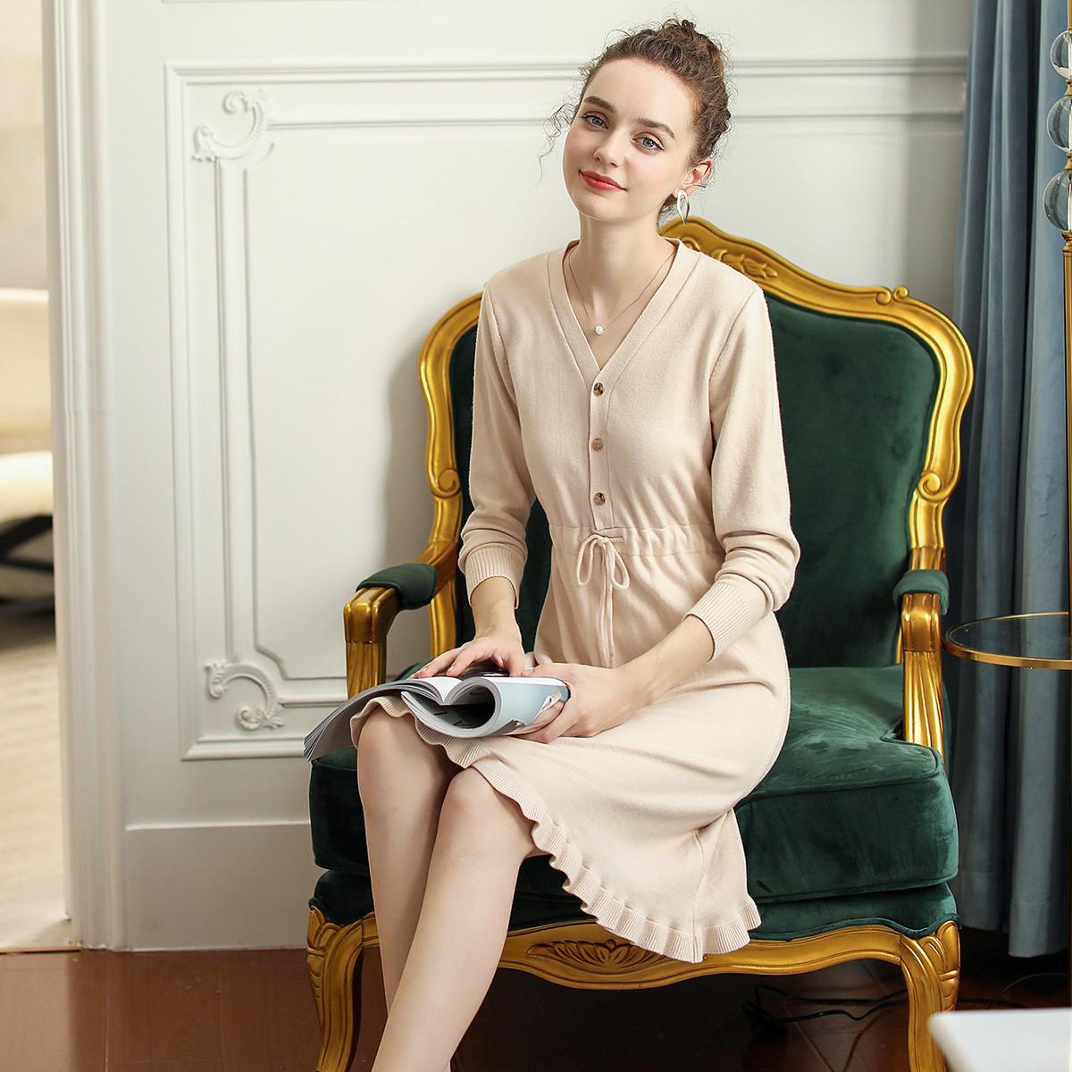 12月01日最新优惠小清新纯色系带气质针织裙荷叶边纽扣V领中长款女士连衣裙
