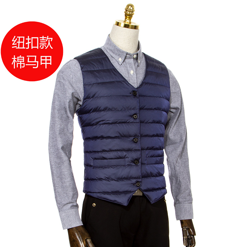 Down cotton vest warm clothing for middle-aged and elderly mens winter suit vest slim Korean business light and thin style inner wear
