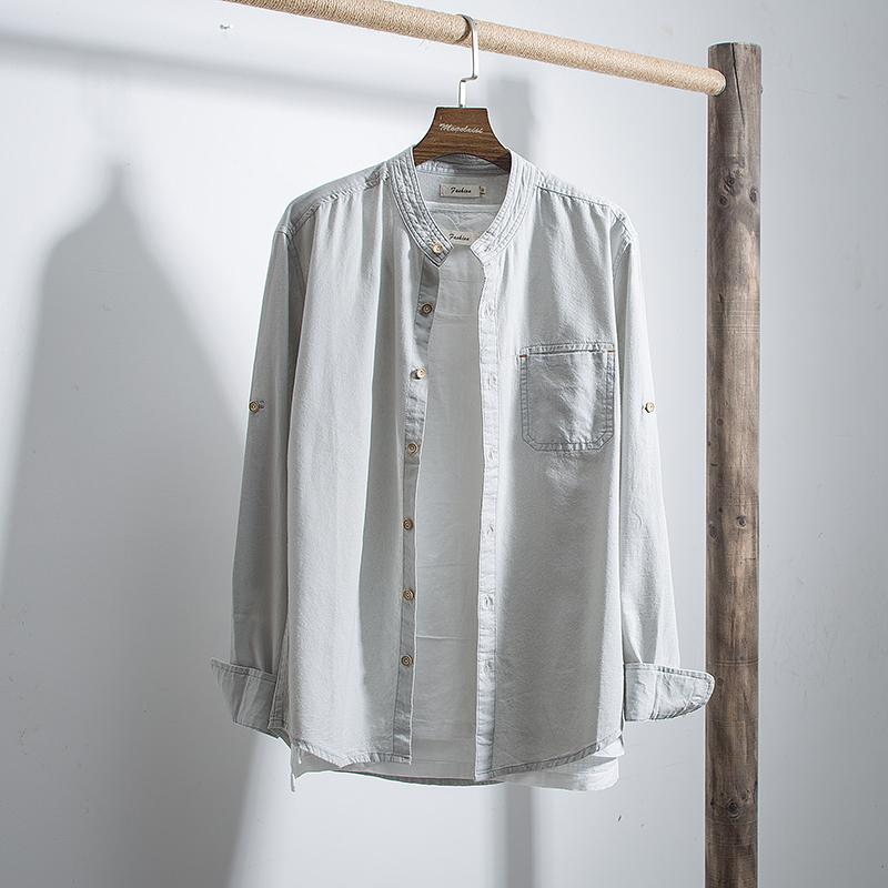 100%棉亚麻衬衫男春季新款纯色休闲长袖立领衬衣青年寸衣M2813P75
