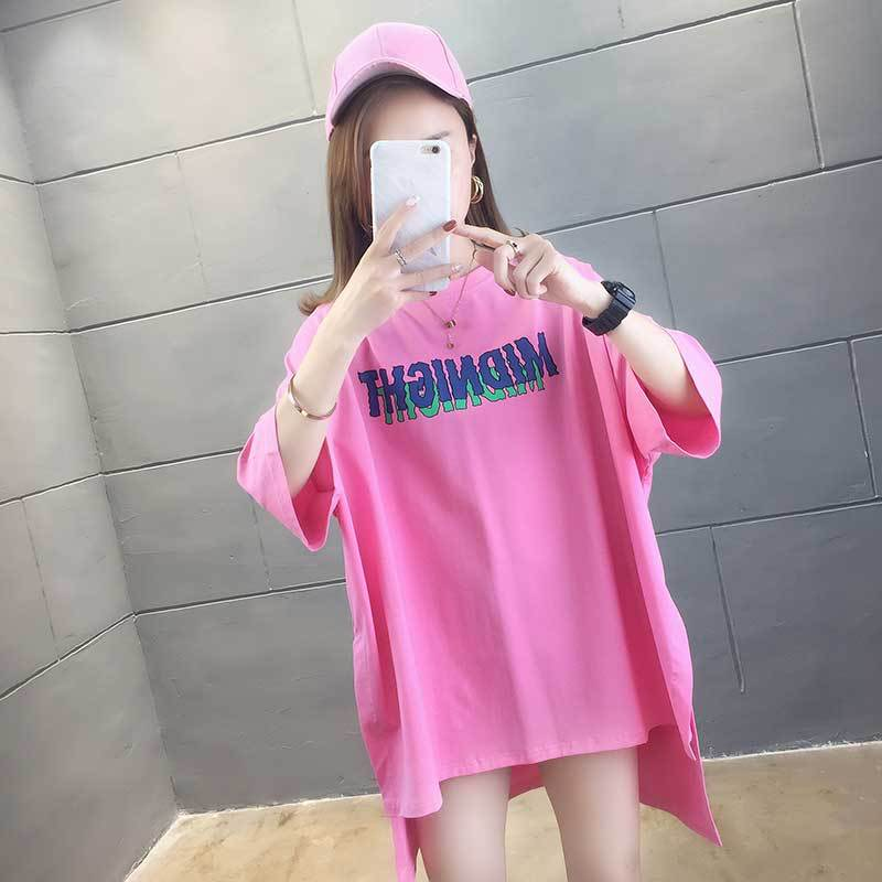 Short front and long back cotton short sleeve T-shirt for womens summer wear