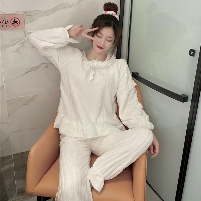 秋冬季蝴蝶结花边家居服仿珊瑚绒长袖睡衣睡裤保暖套装两件套女装