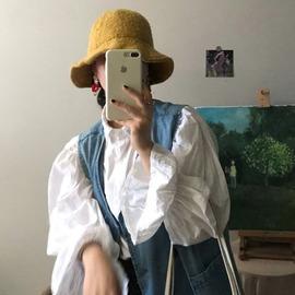 早春2020韩版chic时尚法式复古泡泡喇叭袖白衬衫打底衬衫上衣女潮