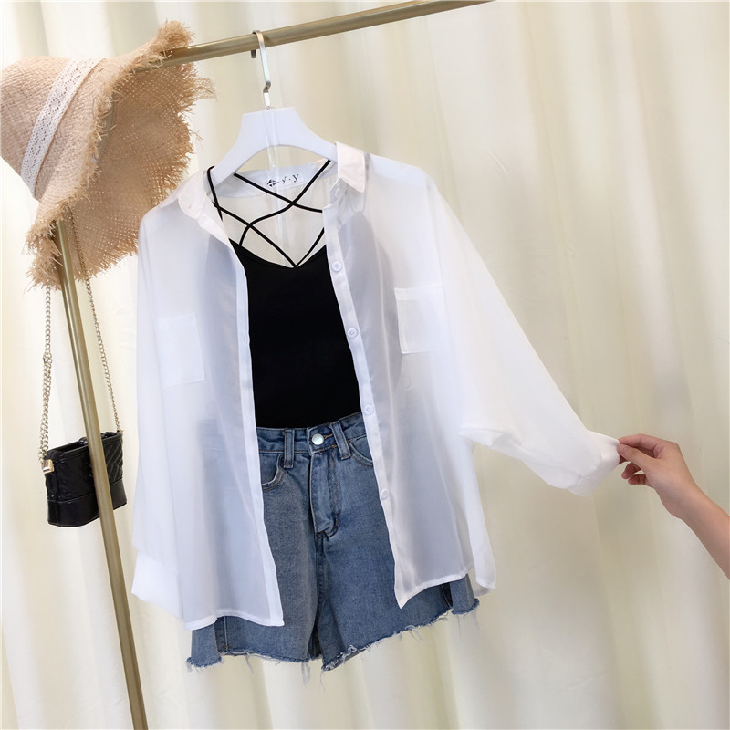 秋装2021韩版空调衫外搭小清新衬衫