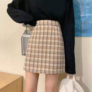2021冬秋季新款时尚高腰半身裙女格子复古百搭a字短裙显瘦包臀裙