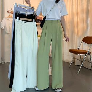 2020夏季新款宽松休闲裤显瘦直筒裤阔腿女高腰垂感裤子薄款拖地裤