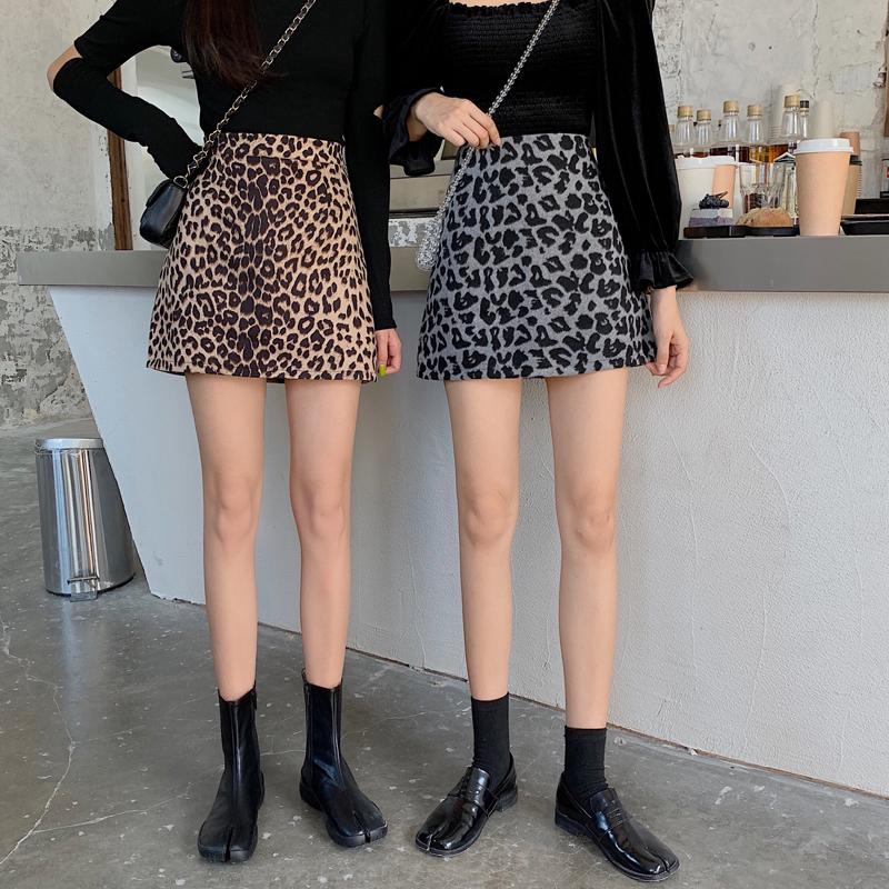 豹纹半身裙女高腰2020春季新款百搭鹿皮绒裙子包臀裙显瘦a字短裙