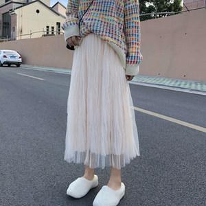 显瘦仙女网纱半身裙女春季纱裙2020新款百搭中长款百褶裙黑色裙子