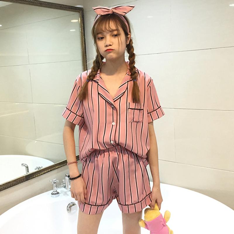 2018夏装新款学生条纹短袖睡衣短裤套装百搭女士家居服休闲两件套