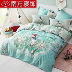 南方寝饰家纺卡通四件套纯棉全棉被套少女儿童床单床上用品套件