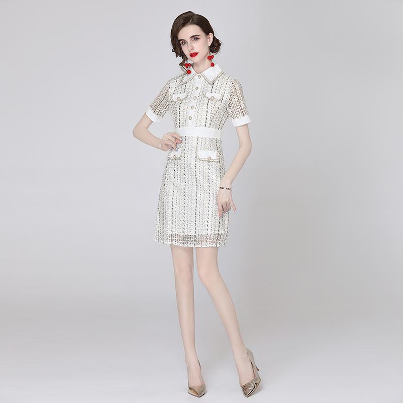 实拍-2021夏季新款小众香风高级感名媛轻奢蕾丝修身收腰连衣裙女